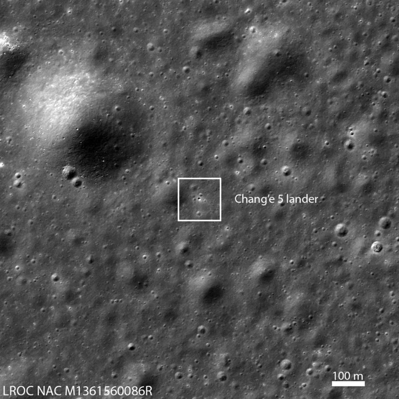 Chang'e 5 lander located by the Lunar Reconnaissance Orbiter / NASA