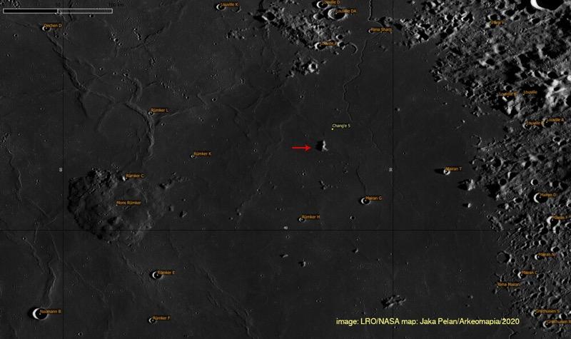 Chang'e 5 landing area / LRO/NASA Jaka Pelan/Arkeomapia/2020